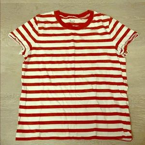 Madewell red strip tee XS
